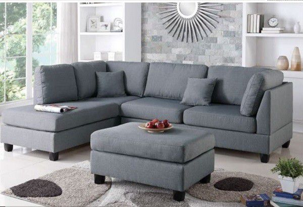 Brand New Grey Linen Sectional Sofa Couch + Ottoman (3 Color Options)