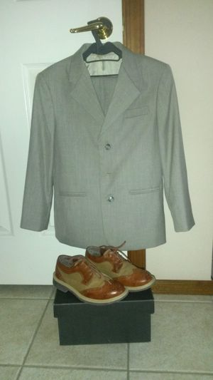 Boy's Suits size 8-10 and the leather shoes size 3. for Sale in Dallas, TX