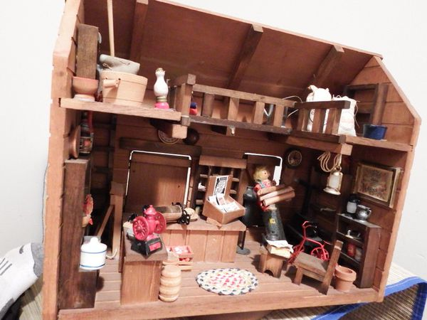 Vintage Wooden Miniature General Store Doll House