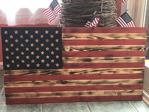 Handcrafted Wooden Rustic American Flag for Sale in Ashburn, VA