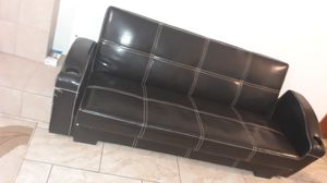 Black leather Futon for Sale in Visalia, CA