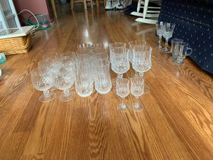 20 crystal glasses. 6 brandy, 8 drinking glasses, 4 wine, 2 mini wine for Sale in Utica, MI