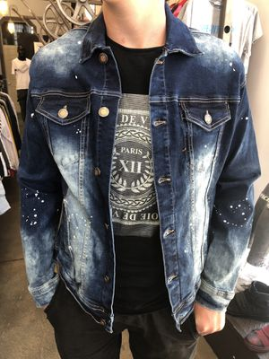 Blue denim jeans jacket new with tags limited sizes available for Sale in Los Angeles, CA