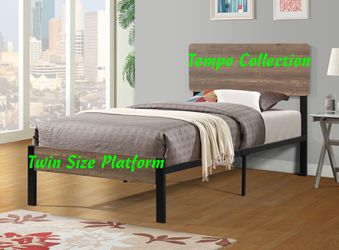 NEW, Twin Metal Bed Frame with Wooden Headboard, SKU# 7532T for Sale in Westminster,  CA