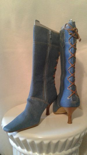Women's Mixit Blue Denim Boots, Zip-up Size 6 1/2 for Sale in Magna, UT