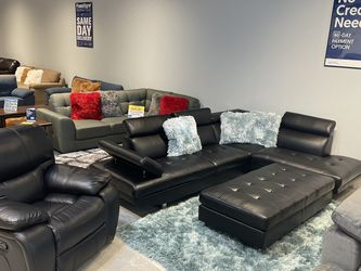 Black Ibiza Sectional Sofa And Ottoman Set On Sale! No Credit Needed Financing! for Sale in Orlando,  FL