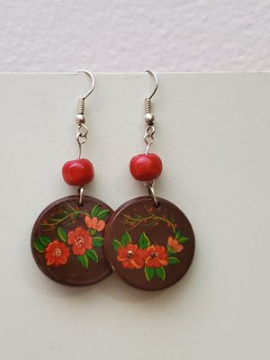 Set Jewelry Dangle Earing Pendant Necklace Leather Flower Painting on Wood Handmade Gift for women Persian Miniature Ethnic Woodean Bead for Sale in Agawam, MA