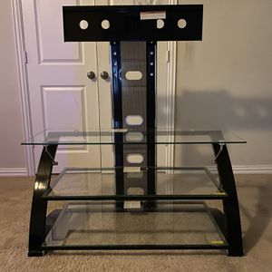 Glass TV Stand With 3 Glass Shelves for Sale in The Colony, TX