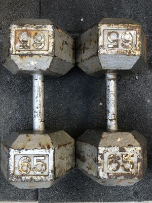 Dumbbells pair of 65lb dumbbells in solid condition workout equipment weights dumbells for Sale in Los Angeles, CA