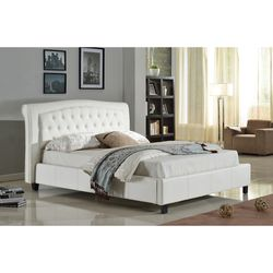 Eking/Calking Faux Leather Platform Bed Frame in White Color with Tufted Buttons for Sale in Monterey Park,  CA