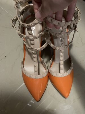 Orange studded strappy high heels for Sale in Miami, FL