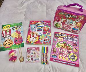 8+ BRAND NEW SHOPKINS FUN COLORING & ACTIVITY BOOKS, NEW LUNCH BOX, PLUSH KEY CHAIN, STICKERS, & MORE! for Sale in Colorado Springs, CO