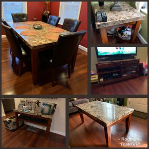 Granite-Top Table Set (Dining, TV, Sofa, Coffee, End) for Sale in Alexandria, VA
