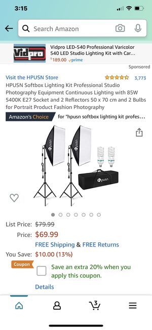 Brand New‼️ HPUSN Softbox Lighting Kit Professional Studio Photography Equipment Continuous Lighting with 85W 5400K E27 Socket and 2 Reflectors 50 x for Sale in Fountain Valley, CA
