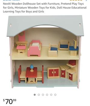 NextX Wooden Dollhouse Set with Furniture, Pretend Play Toys for Girls, Miniature Wooden Toys for Kids, Doll House Educational Learning Toys for Boys for Sale in Atlanta, GA