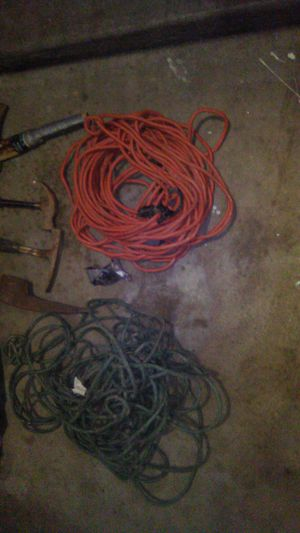 2 50ft extension cords pick head 2 hammers and ax head for Sale in El Mirage, AZ