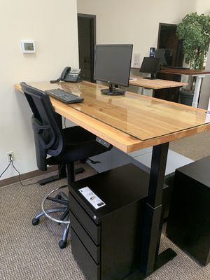 Reclaimed Douglas fir sit stand office desk for Sale in Portland, OR