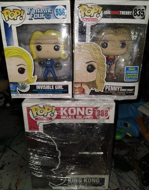 Funko Pop: Invisible Girl 558; Penny 835; (BIG) King Kong 388 for Sale in El Paso, TX