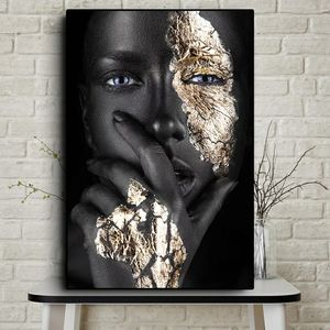 Wall Art African black Gold woman 34hx23w inch for Sale in San Jose, CA