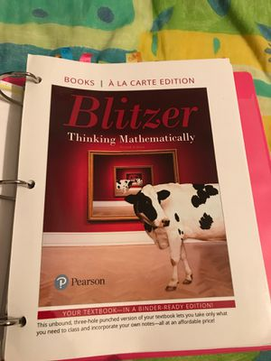 Blitzer thinking mathematically 7th edition for Sale in Fort Worth, TX