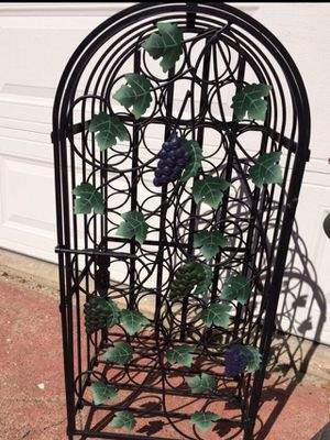 Wrought Iron Lockable Wine Rack- Holds 33 Bottles for Sale in San Leandro, CA