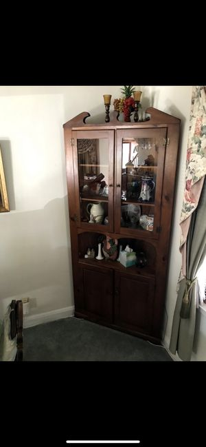 Antique Wooden Corner Armoire / China Cabinet for Sale in Baltimore, MD