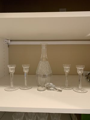 Waterford LIsmore taper candle holders, crystal decanter for Sale in Gig Harbor, WA