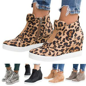 Womens Hidden Wedge Low Mid Heel Ankle Boots Sneakers Trainers Comfy Shoes Size for Sale in New York, NY