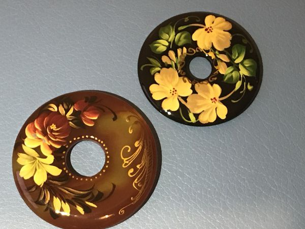 Hand painted Russian stone donuts