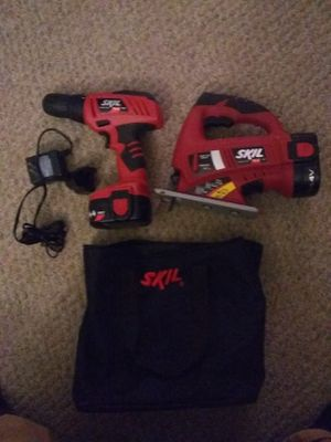 Skil 14volt drill and jigsaw 2 batteries and charger works good really good condition just upgraded for Sale in Biddeford, ME