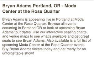 (2) VIP Platinum Bryan Adams Concert Tickets for Sale in Keizer, OR