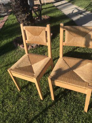 2 sillas de madera tejidas de mimbre for Sale in La Puente, CA