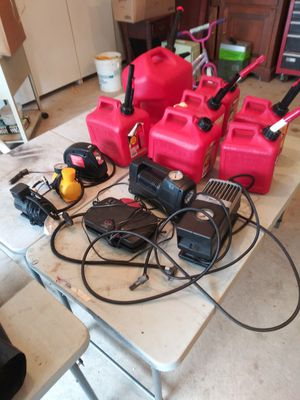 7 fuel containers and 6 air pumps all work fine for Sale in Windsor, CT