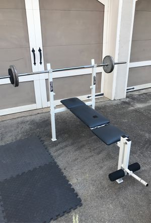 Barbell, Weight Bench with Leg Attachment and Weights for Sale in Alpharetta, GA