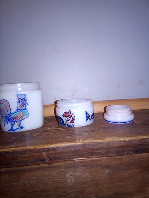 Vintage milk glass containers with roosters for Sale in Chapel Hill, TN