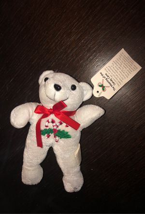 White Teddy Bear with the Meaning of the Candy Cane Christmas Decoration for Sale in Plainfield, IL