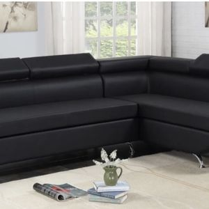 Black Leather Sectional for Sale in Houston, TX
