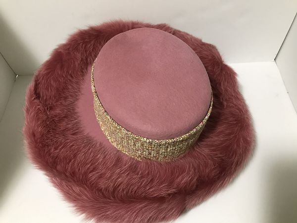 Women's fashion pink hat with faux fur & brooches, OS, Lily & Taylor.