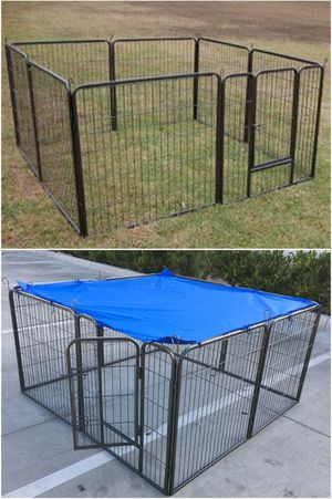New in box 32 inch tall x 32 inches wide each panel x 8 panels heavy duty exercise playpen fence safety gate dog cage crate kennel expandable fence g for Sale in South El Monte, CA
