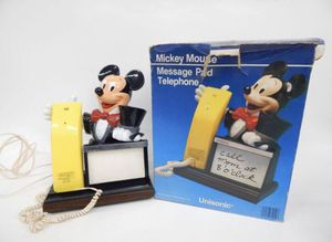 Vintage 1980 Disney Mickey Mouse Touch Tone Telephone Message Pad Unisonic w/Box for Sale in Evans City, PA