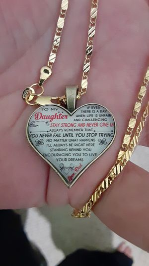 18k gold plated necklace and heart pendant for a daughter from her dad for Sale in New Port Richey, FL