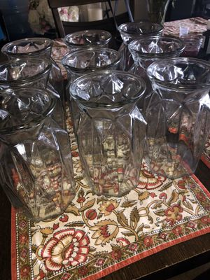 """Set of 9 Flower/Candles Vases thick Glass 7"""" Tall 4""""width for Sale in Santa Ana, CA"""