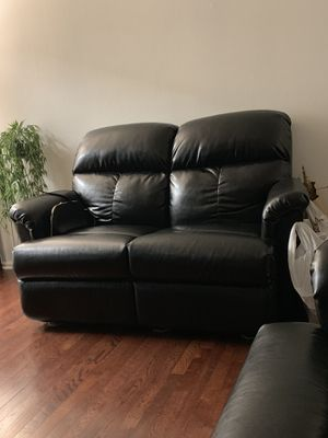 I have a set of black sofa in excellent condition, reclaimed upholstery for Sale in West Linn, OR