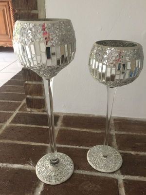 Sparkling silver mosaic glass Tall Candle Holders - set of two - Beautiful silver candle holders for Sale in Miami, FL
