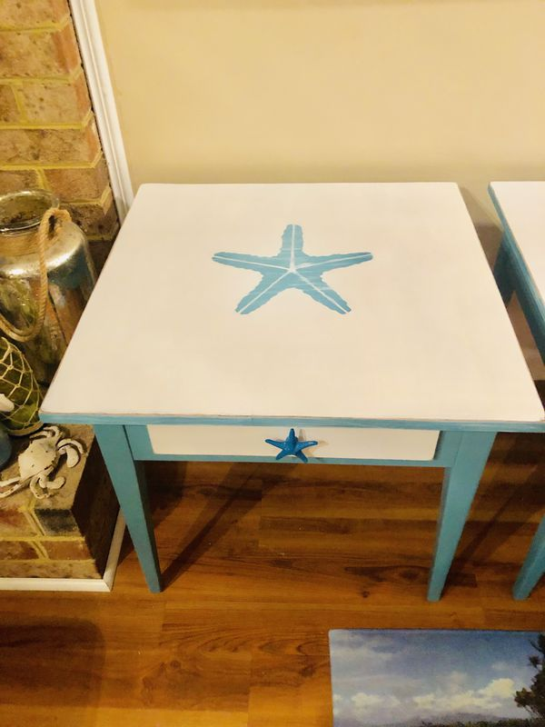 Set of two charming solid wood Seaside inspired end tables