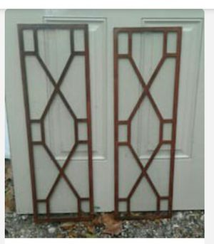 Antique teak wood china cabinet glass inserts for Sale in Nederland, TX