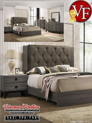 **SELLING QUICK** 4-PCS BEDROOM SET BED+DRESSER+MIRROR-NIGHTSTAND (mattress not included) $548 for Sale in Orange, CA