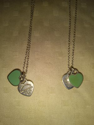 2- Tiffany &co mini Double hearted tags with blue enamel necklaces for Sale in Henderson, NV