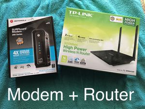 Motorola modem and tp link router wifi for Sale in San Fernando, CA
