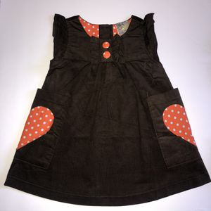 Chocolate corduroy Dress w/orange heart pocket patch for Sale in South Gate, CA